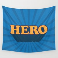 hero Wall Tapestries featuring Hero by Word Quirk