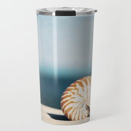 Seashell on Beach Photography, Nautilus Shell Coastal Photograph, Blue Orange Beach Landscape Travel Mug