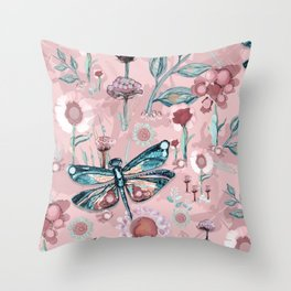 Rose Gold Dragonfly Garden | Pastel Throw Pillow
