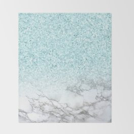 Pretty Turquoise Marble Sparkle Throw Blanket