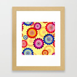 Seamless floral background with mosaic multi-colored aster flowers Framed Art Print