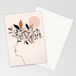 Minimal line Art botanical Portrait Stationery Cards