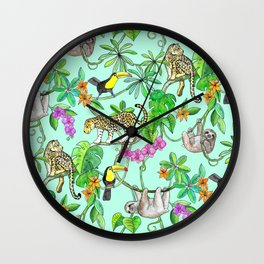 Rainforest Friends - watercolor animals on mint green Wall Clock