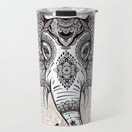 Elephant on Mandala Travel Mug