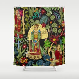 Frida's Garden, Casa Azul Lush Greenery Frida Kahlo Landscape Painting Shower Curtain