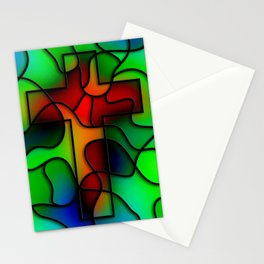Stained Glass Cross Stationery Cards