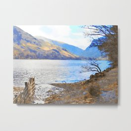 Little Tree at Buttermere, Lake District UK Watercolour Painting Metal Print