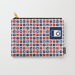 Travel Icons in RWB Carry-All Pouch