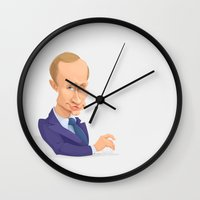 putin Wall Clocks featuring illustration of Russian president Putin on white background by krasivos
