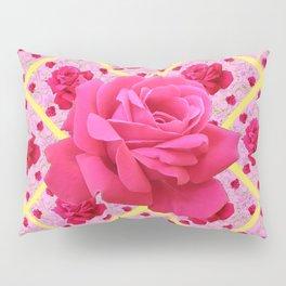 FUCHSIA PINK ROSE PATTERNS & YELLOW GARDEN ART Pillow Sham