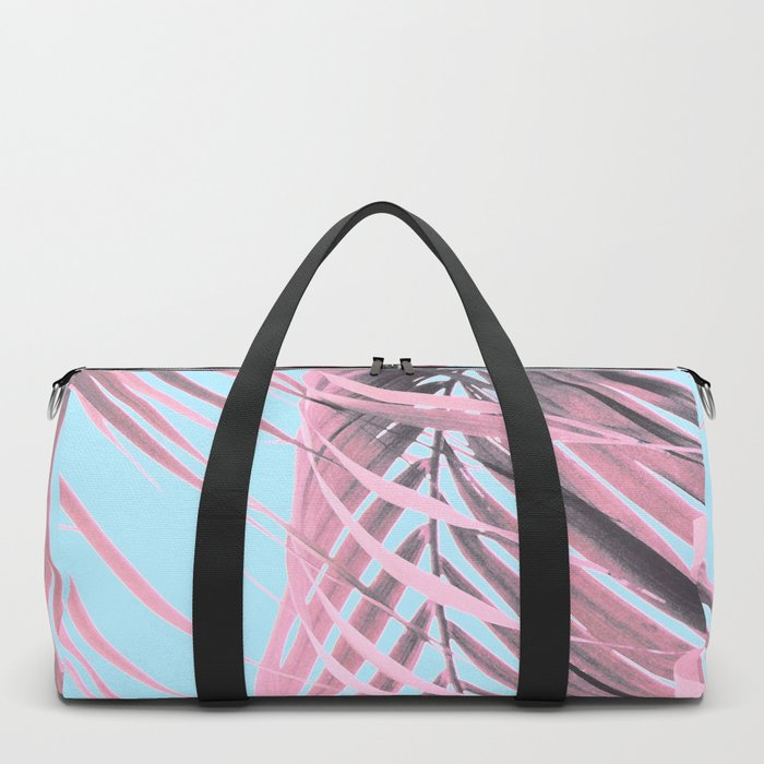 Delicate Pink Palms Duffle Bag