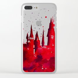 Hogwarts Watercolor Silhouette Clear iPhone Case