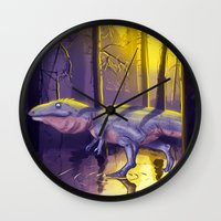 trex Wall Clocks featuring Giganotosaurus dinosaur by bytahsinkaya