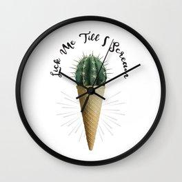 Ice Cream Cone Cactus Succulent Lick Me Scream Erotic Quote Surreal Wall Clock