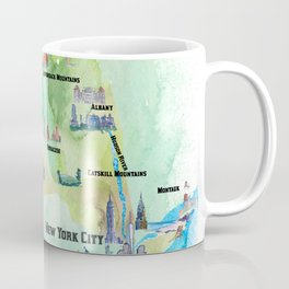USA New York State Travel Poster Map with tourist highlights Coffee Mug
