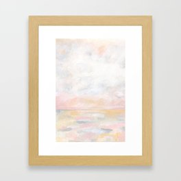 Ecstatic - Pink and Yellow Pastel Seascape Framed Art Print