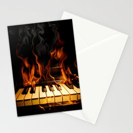 Burning Piano Stationery Cards