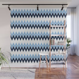 Navy + White | Bel Air Modern Flame Stitch Pattern Wall Mural