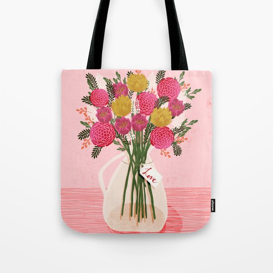 Valentines Day Bouquet floral vase flower by Andrea Lauren  Tote Bag