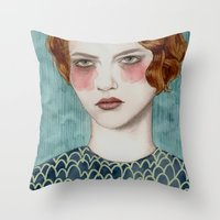 woman Throw Pillows featuring Sasha by Sofia Bonati