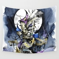 nightmare before christmas Wall Tapestries featuring The nightmare before christmas by Sandra Ink