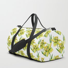Spring hand painted yellow green watercolor daffodils floral Duffle Bag