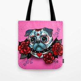 Sugar Skull Pug with Roses on Hot Pink Tote Bag
