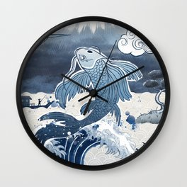 Japan Vintage Art Koi Fuji Wall Clock