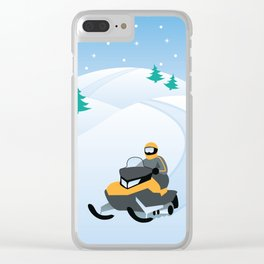 Snowmobiling on a Snowy Winter Day Clear iPhone Case