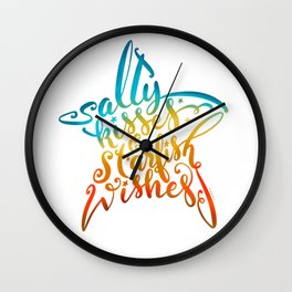 Salty Kisses & Starfish Wishes Beach Hand Lettering Design Wall Clock