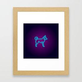 NEON BORDER COLLIE DOG Framed Art Print