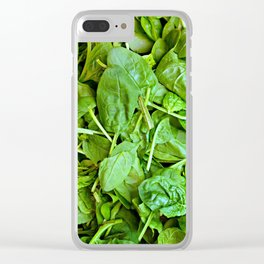 Fresh green spinach salad pattern Clear iPhone Case