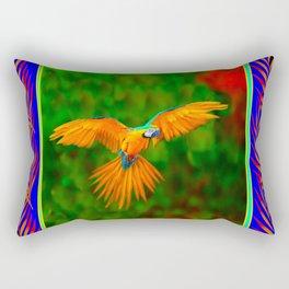 Decorative Flying Golden Blue Macaw Parrot  Black Green  Art Rectangular Pillow