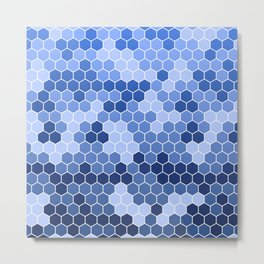 Honeycomb Blue Pattern | Geometric Shapes | Home Decor | Sapphire | For Him | For Her Metal Print