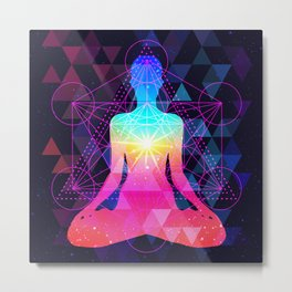 Human silhouette meditating or doing yoga. Metatrons Cube, Flower of life. Metal Print