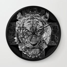 mandala tiger marble Wall Clock