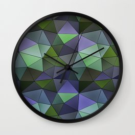Abstract geometric polygon in gray, green, lilac tones. Wall Clock