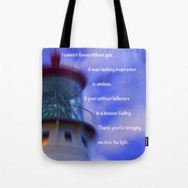 """Kauai Lighthouse #1"" Photo with poem: Traveling Together #5 Tote Bag"