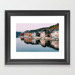 VILLAGE - HOUSE - RIVER - REFLECTION - PHOTOGRAPHY Framed Art Print