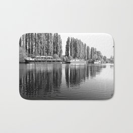 Barges on the River Oise Bath Mat