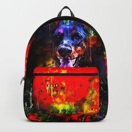 doberman dog red flowers meadow splatter watercolor Backpack