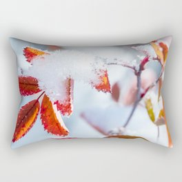 Snowy Fall Leaves // Frozen Fall Colors Rectangular Pillow