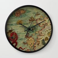 antique Wall Clocks featuring Antique Map by Lucia