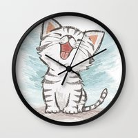 cat coquillette Wall Clocks featuring Cat by Toru Sanogawa