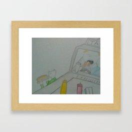 Eating hotdogs Framed Art Print