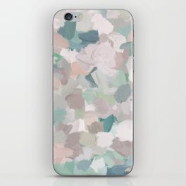 Mint Seafoam Green Dusty Rose Blush Pink Abstract Nature Flower Wall Art, Spring Painting Print iPhone Skin