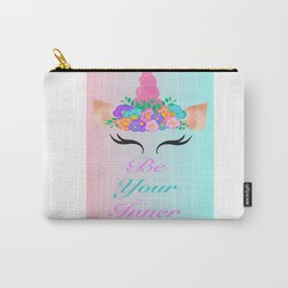 Bright Floral Unicorn Carry-All Pouch