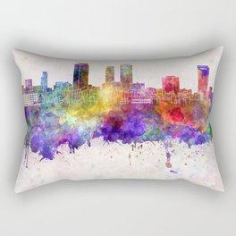Nagoya skyline in watercolor background Rectangular Pillow