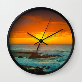 Sunset over childrens pool Wall Clock