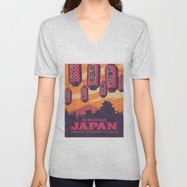 Japan Travel Tourism with Japanese Castle, Mt Fuji, Lanterns Retro Vintage - Orange Unisex V-Neck